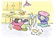 While shaking, which is usually over within one or two minutes, stay under a large table until the quake has stopped.  If there's nowhere to hide yourself, protect your head with pillows or blankets.